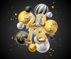 2018 new year background with decor balls vector