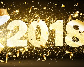 2018 new year background with golden confetti design vector