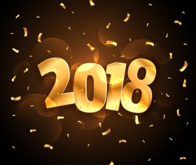 2018 new year background with golden confetti vector