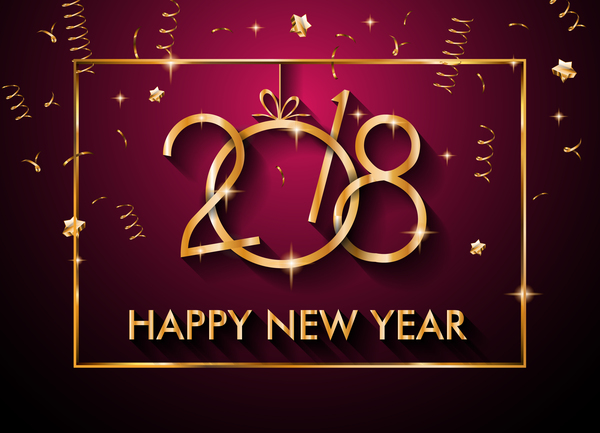 2018 new year background with golden frame vector 01