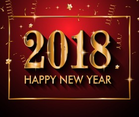 2018 new year background with golden frame vector 02