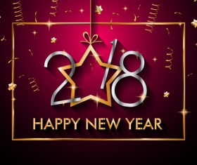 2018 new year background with golden frame vector 03