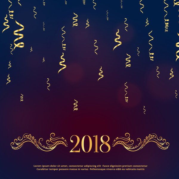 2018 new year background with golden ribbon vector