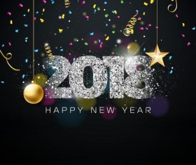 2018 new year background with stars decor vector