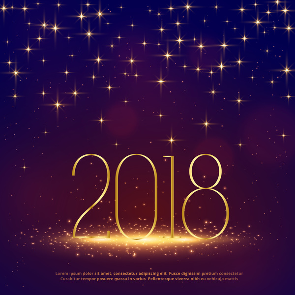 2018 new year background with stars lights vector