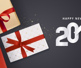 2018 new year black background with gift boxs vector 01