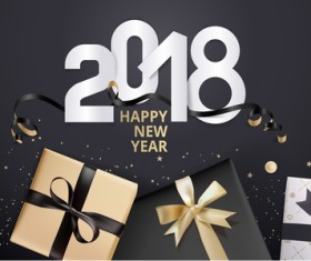2018 new year black background with gift boxs vector 02