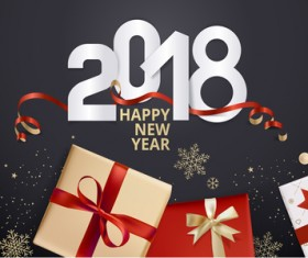 2018 new year black background with gift boxs vector 03