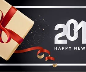 2018 new year black background with gift boxs vector 04