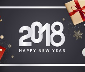2018 new year black background with gift boxs vector 05