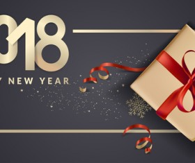 2018 new year black background with gift boxs vector 07