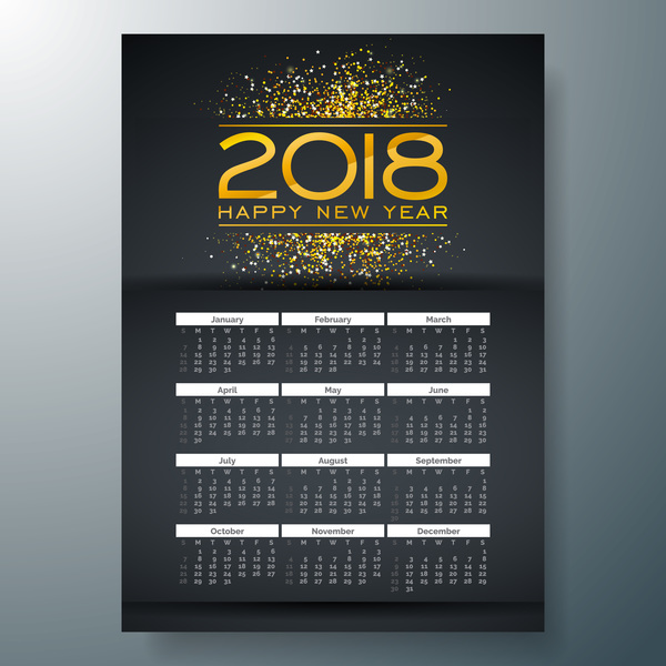 2018 new year black calendar template vector