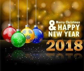 2018 new year blurs background with christmas balls vector