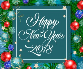 2018 new year card with christmas baubles vector