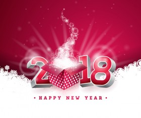 2018 new year card with shiny gift box vector