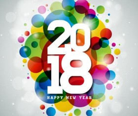 2018 new year colored halation background vector