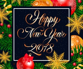 2018 new year frame with christmas background vector