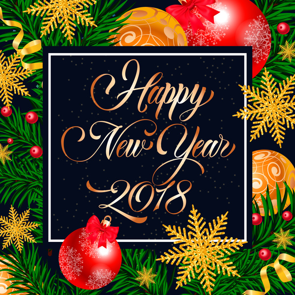 2018 new year frame with christmas background vector free download