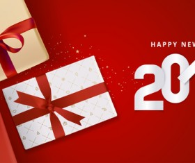 2018 new year gift box with red background vector 01