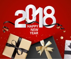 2018 new year gift box with red background vector 02