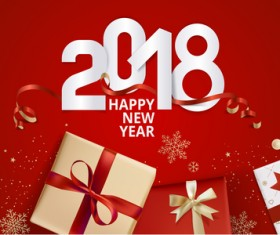 2018 new year gift box with red background vector 03