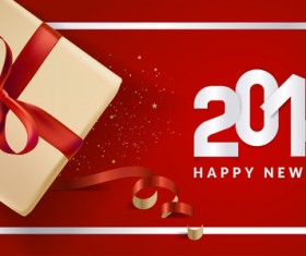 2018 new year gift box with red background vector 04