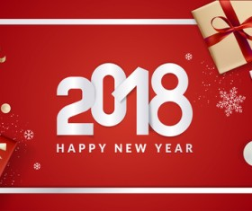 2018 new year gift box with red background vector 05