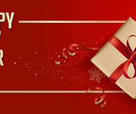 2018 new year gift box with red background vector 06