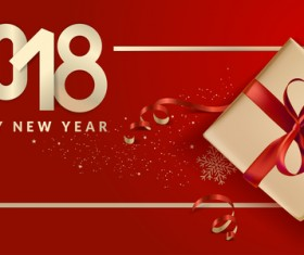 2018 new year gift box with red background vector 07