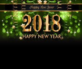 2018 new year green background with bubble vector