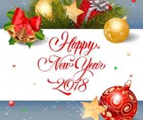 2018 new year greeting card with christmas decor vector
