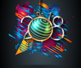 2018 new year grunge background vector