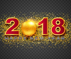 2018 new year illustration with golden confetti vector 01