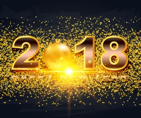2018 new year illustration with golden confetti vector 02