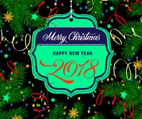 2018 new year labels with chrismtas frame vector