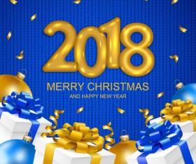 2018 new year with christmas gift and fabric background vector