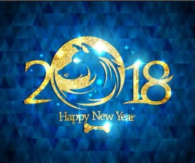 2018 new year with dog and blue background vector