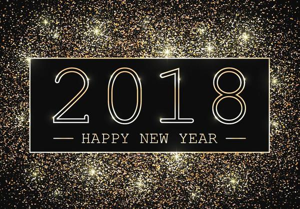 2018 new year with golden particles background vector