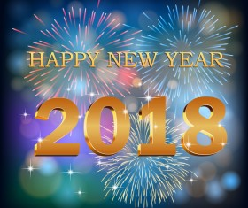 2018 new year with holiday firework background vector