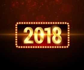 2018 new year with neon background vector