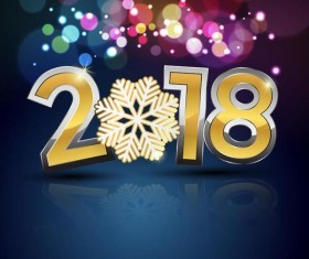2018 new year with shiny holiday background vector