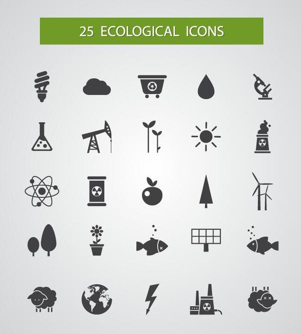 25 Kind ecological icons