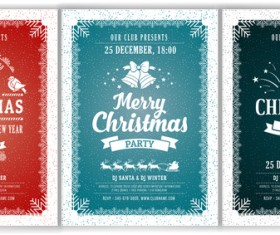 3 Kind christmas party poster template vector