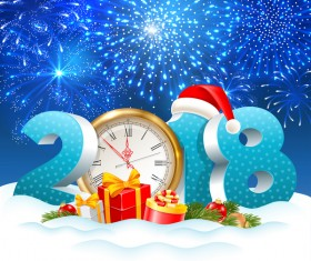 3D 2018 text with clock and blue christmas background vector