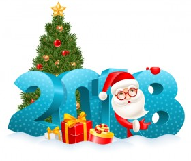 3D 2018 text with santa vector material 01