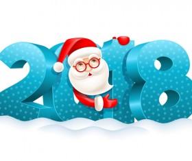 3D 2018 text with santa vector material 02