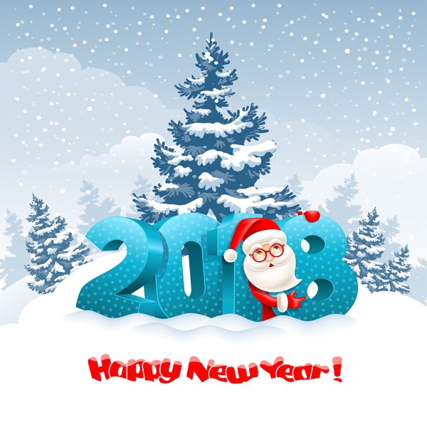 3D 2018 text with santa vector material 03