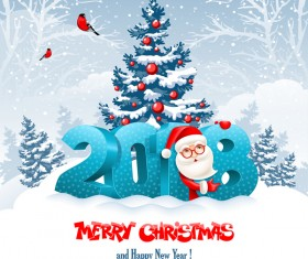 3D 2018 text with santa vector material 04