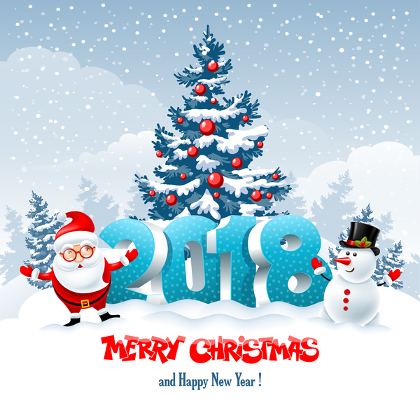 3D 2018 text with santa vector material 05