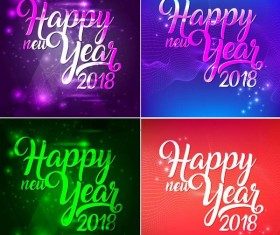 4 Kind 2018 new year background vector design